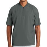 New Era Charcoal Cage Short Sleeve 1/4 Zip-Primary Logo