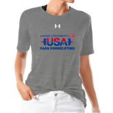 Ladies Under Armour Heather Grey Triblend Tee-USA Para Powerlifting