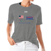 Ladies Under Armour Heather Grey Triblend Tee-New USA Para Powerlifting
