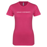 Next Level Ladies SoftStyle Junior Fitted Fuchsia Tee-Primary Logo