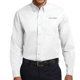 White Twill Button Down Long Sleeve-Primary Logo