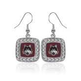 Crystal Studded Square Pendant Silver Dangle Earrings-Mascot