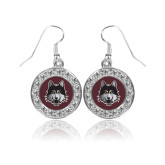 Crystal Studded Round Pendant Silver Dangle Earrings-Mascot