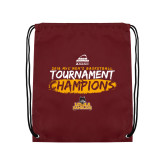 Maroon Drawstring Backpack-2018 Mens Basketball Champions - Brush