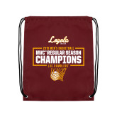 Maroon Drawstring Backpack-2019 Mens Regular Season Champions in Box