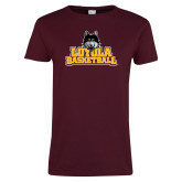 Ladies Maroon T Shirt-Basketball