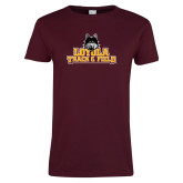 Ladies Maroon T Shirt-Track and Field