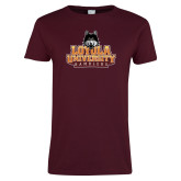 Ladies Maroon T Shirt-Primary Mark - Full Color Gradient