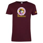 Ladies Maroon T Shirt-Ramblers Vintage