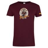 Ladies Maroon T Shirt-Ramblers Vintage - Full Mascot