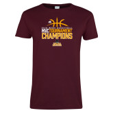 Ladies Maroon T Shirt-2018 Mens Basketball Champions - Stacked