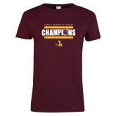 Ladies Maroon T Shirt-2019 Mens Regular Season Champions
