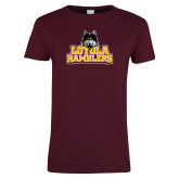 Ladies Maroon T Shirt-Loyola Ramblers Stacked