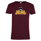 Ladies Maroon T Shirt-Athletics