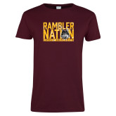 Ladies Maroon T Shirt-Rambler Nation