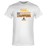 White T Shirt-2018 Mens Basketball Champions - Stacked