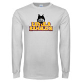 White Long Sleeve T Shirt-Loyola Ramblers Stacked