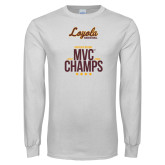 White Long Sleeve T Shirt-2018 MVC Champs Mens Basketball
