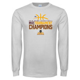 White Long Sleeve T Shirt-2018 Mens Basketball Champions - Stacked