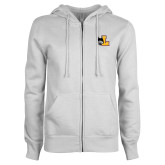 ENZA Ladies White Fleece Full Zip Hoodie-L Mark