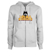 ENZA Ladies White Fleece Full Zip Hoodie-Loyola Ramblers Stacked