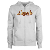 ENZA Ladies White Fleece Full Zip Hoodie-Script