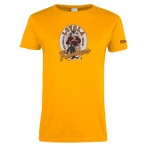 Ladies Gold T Shirt-Ramblers Vintage - Full Mascot
