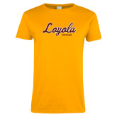 Ladies Gold T Shirt-Script