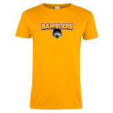 Ladies Gold T Shirt-Ramblers w/ Mascot