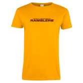 Ladies Gold T Shirt-Loyola University Ramblers Stacked