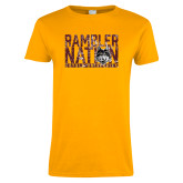 Ladies Gold T Shirt-Rambler Nation