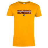 Ladies Gold T Shirt-Loyola University Ramblers - LInes