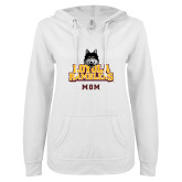 ENZA Ladies White V Notch Raw Edge Fleece Hoodie-Mom