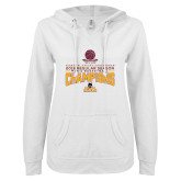 ENZA Ladies White V Notch Raw Edge Fleece Hoodie-2018 Regular Season Mens Basketball
