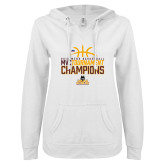 ENZA Ladies White V Notch Raw Edge Fleece Hoodie-2018 Mens Basketball Champions - Stacked