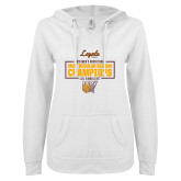 ENZA Ladies White V Notch Raw Edge Fleece Hoodie-2019 Mens Regular Season Champions in Box