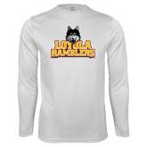 Performance White Longsleeve Shirt-Loyola Ramblers Stacked