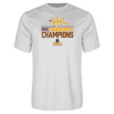 Performance White Tee-2018 Mens Basketball Champions - Stacked