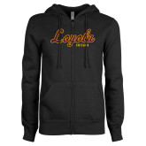 ENZA Ladies Black Fleece Full Zip Hoodie-Script