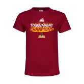 Youth Maroon T Shirt-2018 Mens Basketball Champions - Brush
