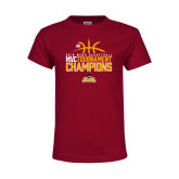 Youth Maroon T Shirt-2018 Mens Basketball Champions - Stacked