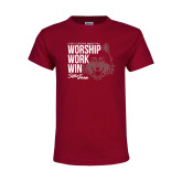 Youth Maroon T Shirt-Worship Work Win