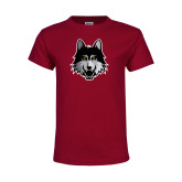 Youth Maroon T Shirt-Mascot