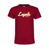 Youth Maroon T Shirt-Script