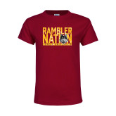 Youth Maroon T Shirt-Rambler Nation