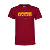 Youth Maroon T Shirt-Loyola University Ramblers - LInes