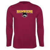 Performance Maroon Longsleeve Shirt-Ramblers w/ Mascot