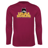 Performance Maroon Longsleeve Shirt-Loyola Ramblers Stacked