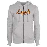 ENZA Ladies Grey Fleece Full Zip Hoodie-Script