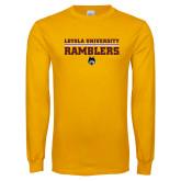 Gold Long Sleeve T Shirt-Loyola University Ramblers - LInes